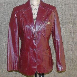 Oxblood Burgundy Leather Etienne Aigner Jacket 12